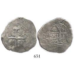 Lima, Peru, cob 4 reales, 1705H.
