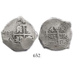 Lima, Peru, cob 4 reales, 1706R, extremely rare.