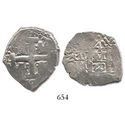 Lima, Peru, cob 4 reales, 1723M, rare.