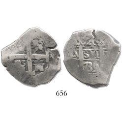 Lima, Peru, cob 4 reales, 1736N, rare.