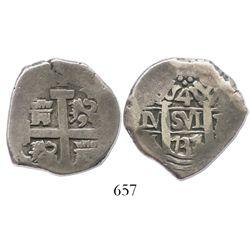 Lima, Peru, cob 4 reales, 1737/6N, rare.