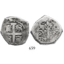 Lima, Peru, cob 4 reales, 1739V, rare.