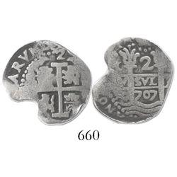 Lima, Peru, cob 2 reales, 1707(H).