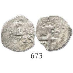 Lima, Peru, cob 1/2 real, Louis I, 1725, rare.