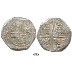 "Potosi, Bolivia, cob 8 reales, Philip IV, assayer P (1620s), from the ca.-1629 ""Panama Hoard."""