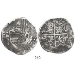 Potosi, Bolivia, cob 8 reales, Philip IV, assayer .P (1620s), quadrants of cross transposed and lion