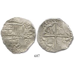 Potosi, Bolivia, cob 8 reales, (1)627(P or T), quadrants of cross transposed, rare, from the ca.-162