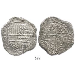 "Potosi, Bolivia, cob 8 reales, assayer T (mid- to late 1620s), ""quadruple transposition"" (upper half"