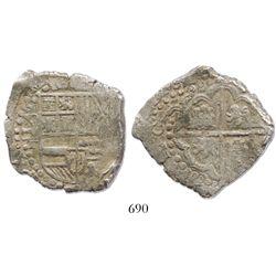 """Potosi, Bolivia, cob 8 reales, 1628T, from the ca.-1629 """"Panama hoard."""""""