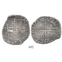 Potosi, Bolivia, cob 8 reales, 1629P, early type with large dots, very rare assayer for date.