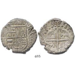 """Potosi, Bolivia, cob 8 reales, (1)629T, from the ca.-1629 """"Panama hoard."""""""