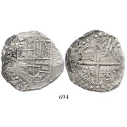 "Potosi, Bolivia, cob 8 reales, ""(1)6229"" (doubled date), assayer T."