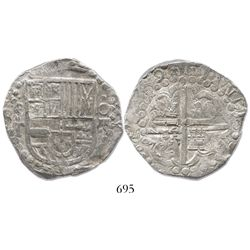 """Potosi, Bolivia, cob 8 reales, (162)9T, from the ca.-1629 """"Panama Hoard."""""""