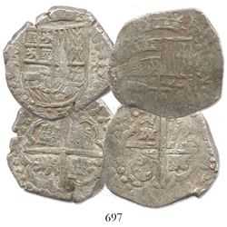 "Lot of 2 Potosi, Bolivia, cob 8 reales, 1629T, both early type with large dots, from the ca.-1629 ""P"