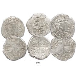 Lot of 3 Potosi, Bolivia, cob 8 reales, 1629T, all late type with fine dots, from the ca.-1629  Pana