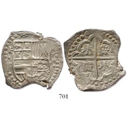 "Potosi, Bolivia, cob 8 reales, 162(7-9)T, quadrants of cross transposed, from the ca.-1629 ""Panama h"