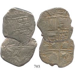 Lot of 2 Potosi, Bolivia, cob 8 reales, Philip IV, assayers not visible (P or T, mid- to late 1620s)