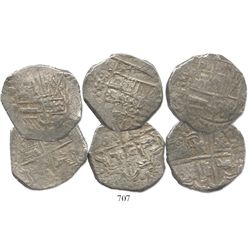 Lot of 3 Potosi, Bolivia, cob 8 reales, assayer P (mid- to late 1620s), some with lions-castles tran