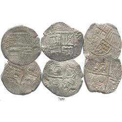 Lot of 3 Potosi, Bolivia, cob 8 reales, assayer P (mid- to late 1620s), all with lions-castles trans
