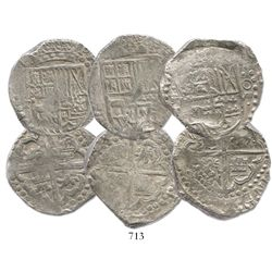 Lot of 3 Potosi, Bolivia, cob 8 reales, assayer T (mid- to late 1620s), one with lions-castles trans