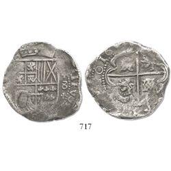 """Potosi, Bolivia, cob 8 reales, 16(30-1)(T), """"+"""" ornaments."""
