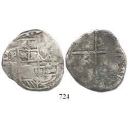 Potosi, Bolivia, cob 8 reales, Philip IV, assayer TR (large, late 1630s).