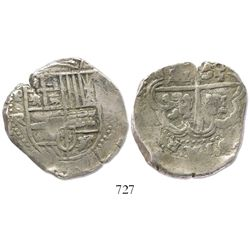 Potosi, Bolivia, cob 8 reales, Philip IV, assayer TR (large, early 1640s).