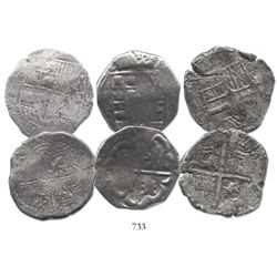 Lot of 3 Potosi, Bolivia, cob 8 reales, Philip III-IV, various assayers (where visible), salvaged.