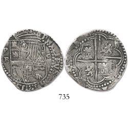 Potosi, Bolivia, cob 4 reales, Philip II, assayer B (3rd period), Sellschopp plate coin.