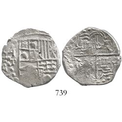 Potosi, Bolivia, cob 4 reales, Philip III, assayer T, backward-P mintmark (ca. 1620).