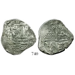 Potosi, Bolivia, cob 4 reales, (162)5/4?, assayer not visible, extremely rare.