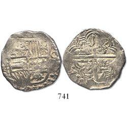 "Potosi, Bolivia, cob 4 reales, Philip IV, assayer T, from the ca.-1629 ""Panama hoard."""