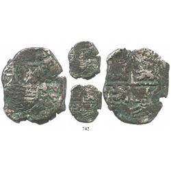 Potosi, Bolivia, cob 4 reales, Philip IV, assayer not visible (probably Ramirez of 1646-8), debased