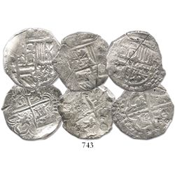 Lot of 3 Potosi, Bolivia, cob 4 reales, Philip III and IV, one with assayer R visible, with small ch