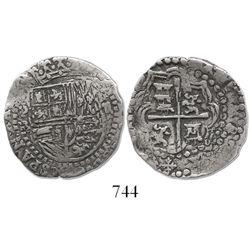 Potosi, Bolivia, cob 2 reales, Philip II, assayer B (3rd period), upright lions (unique variety).