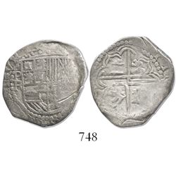 Potosi, Bolivia, cob 2 reales, Philip III, assayer R (curved leg).