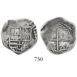 Potosi, Bolivia, cob 2 reales, Philip III, assayer M.