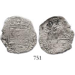 Potosi, Bolivia, cob 2 reales, 1618PAL, very rare.