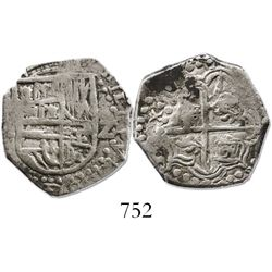 Potosi, Bolivia, cob 2 reales, 1618T, rare.