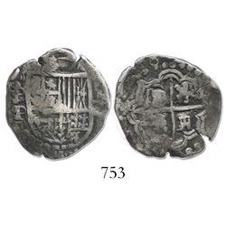 Potosi, Bolivia, cob 2 reales, (16)28P, rare.