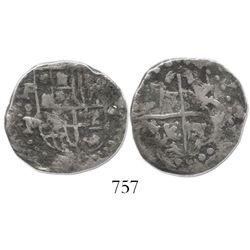 Potosi, Bolivia, cob 2 reales, Philip IV, assayer P (1640s), very rare.