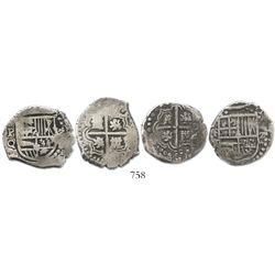 Lot of 2 Potosi, Bolivia, cob 2 reales, Philip IV, assayers T and O.