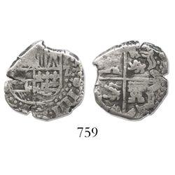 Potosi, Bolivia, cob 2 reales, Philip IV, assayer not visible.