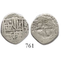 Potosi, Bolivia, cob 1 real, Philip III, assayer T, with P-T to right (1618).