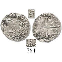 Potosi, Bolivia, cob 1/2 real, Philip II, assayer B/L below, backward B to right of monogram (2nd pe