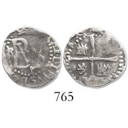 Potosi, Bolivia, cob 1/2 real, Philip II, assayer B to left, mintmark P below monogram (3rd period).