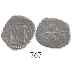 Potosi, Bolivia, cob 1/2 real, Philip II, assayer B to left, mintmark P to right, borders of x's (5t