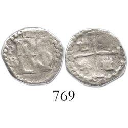 Potosi, Bolivia, cob 1/2 real, Philip III, assayer R (curved leg).