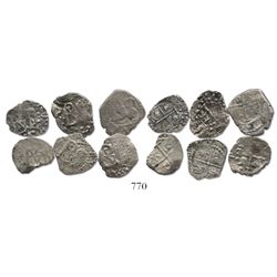 Lot of 6 Potosi, Bolivia, cob 1/2 reales, Philip III-IV, one with assayer R (curved-leg) visible.
