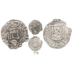 Potosi, Bolivia, cob 1/4 real, Philip II, assayer R (Rincon) to left, mintmark P to right of castle,